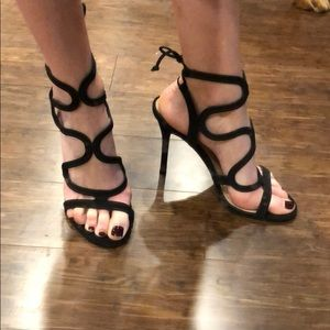 Steve Madden black leather and suede heels